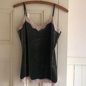 Ann Taylor LOFT Velour Lace Trimmed Camisole